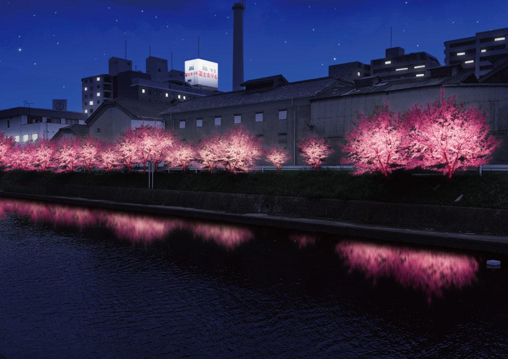 桜並木の春バージョンのライティングのイメージ画像