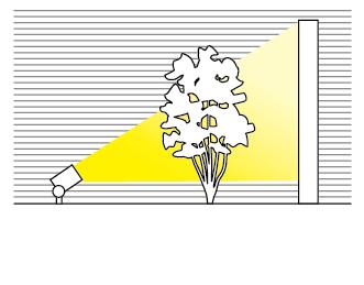 アップライト・スポットライトを設置する距離感のイメージ図