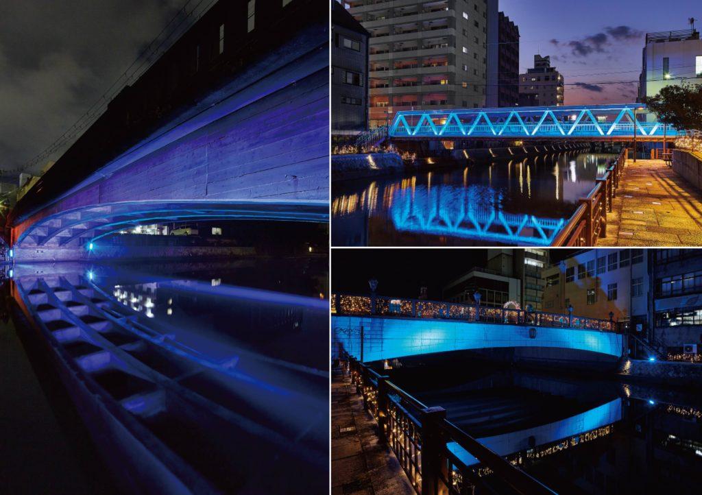 市堀川に架かる3つの橋をそれぞれライティングした様子