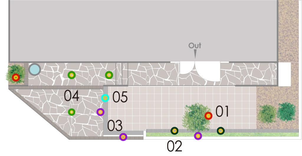 ライティングを行った現場の見取り図とライトの設置ポイント