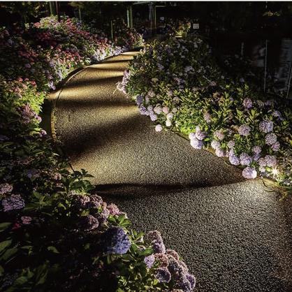 アップライトを真横に向けて光の模様を作ってアプローチを照らしている写真