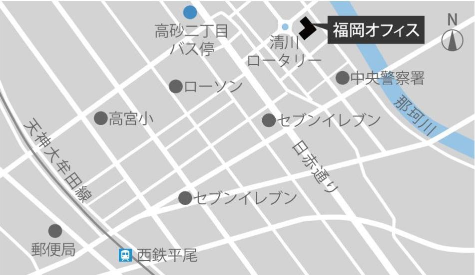 福岡オフィスのアクセスマップ