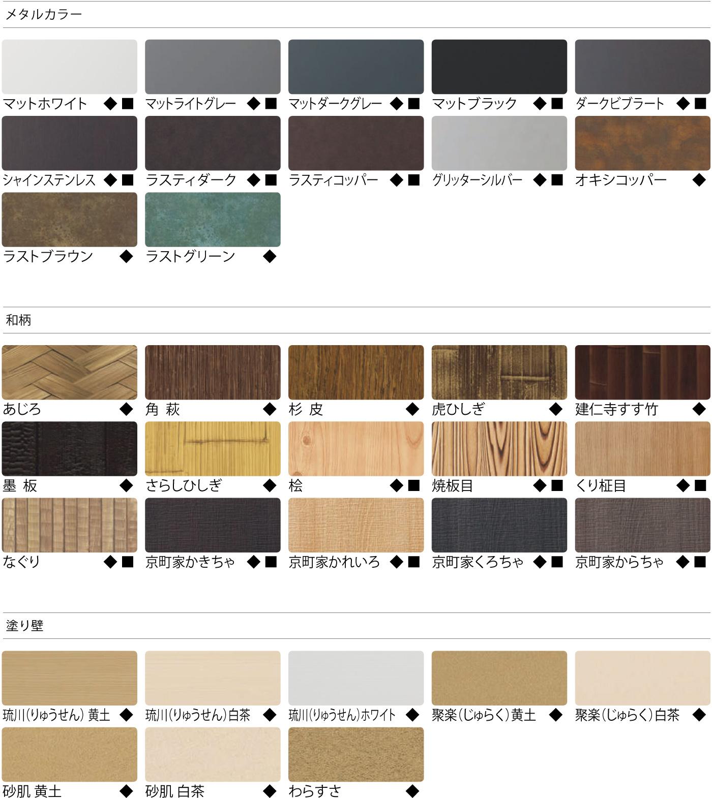 LEDIUS SIGN BOARDの壁面部のカラーバリエーションの一覧画像