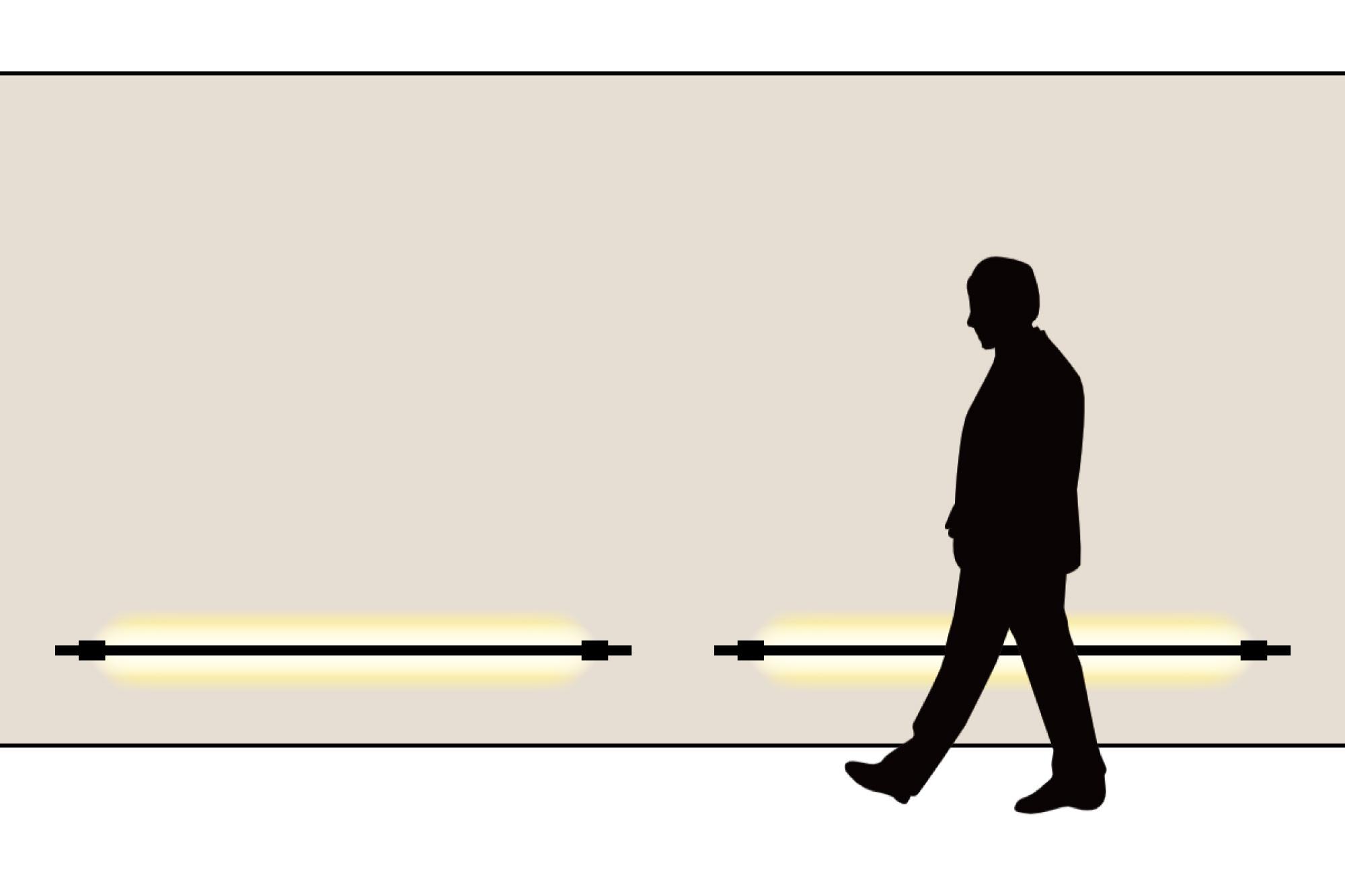 ラインウォールライトを低い位置に設置してフットライトのように用いた例