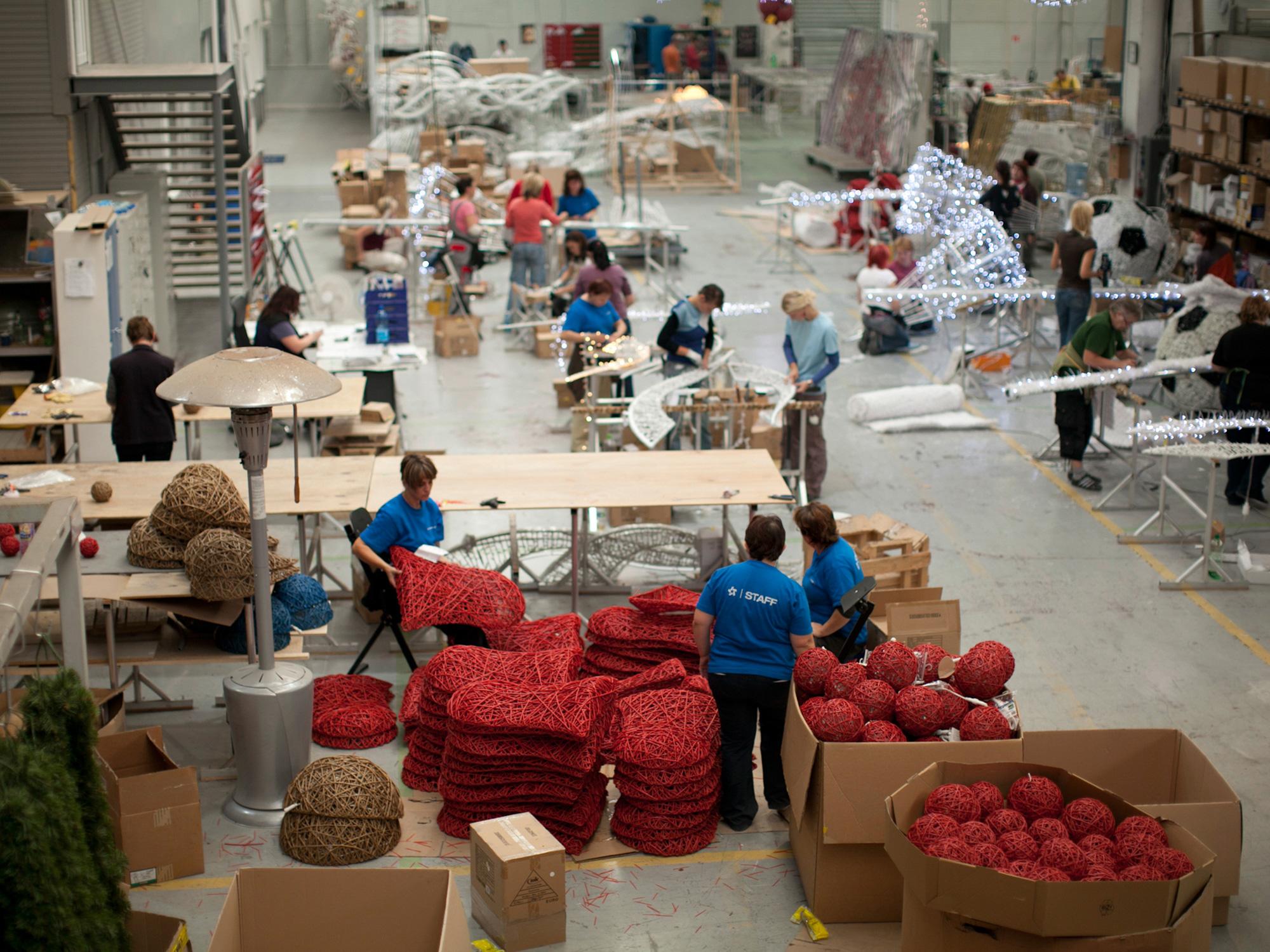オーガニックボールを製造している工場の写真