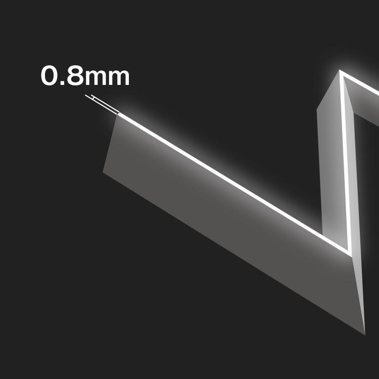 LEDIUS SIGN SMARTの発光面の細さを表す図