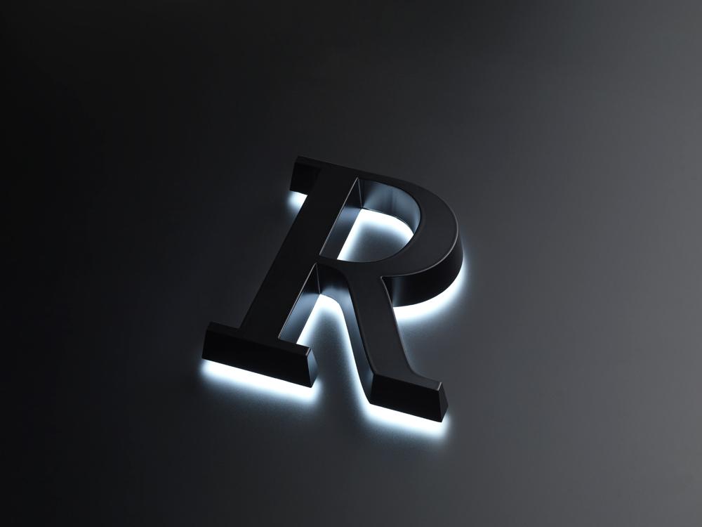 浮かし幅5mmの背面発光のLEDサインの写真