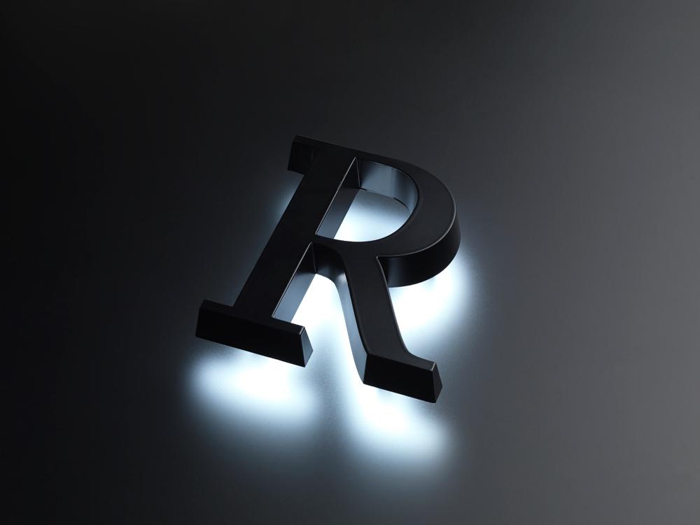 浮かし幅20mmの背面発光のLEDサインの写真