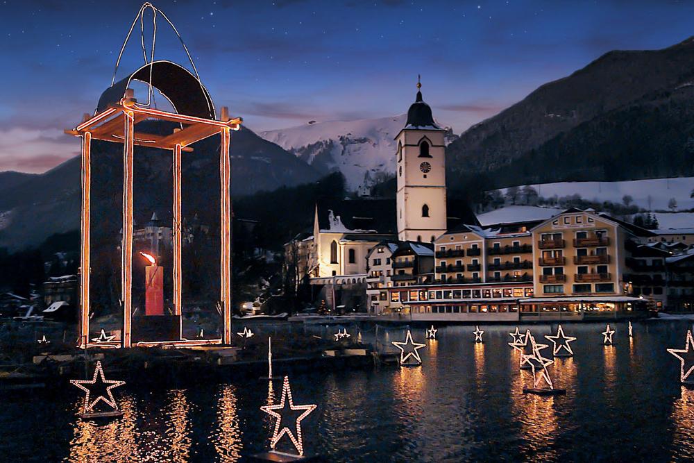 ホテル前の湖(スイス)