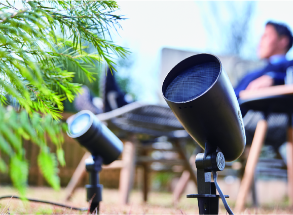 "Introducing our ""Low-Voltage Soundscape System"", a simple yet high quality speaker system for your garden!"