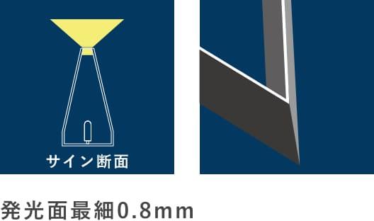 発光面最細0.8mm