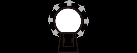 丸型発光のネオンサイン、ネオン看板の発光イメージ画像