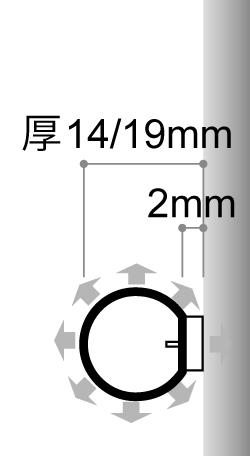 LEDサイン、LED看板のLEDIUS SIGN NEON 360 クリアの寸法図