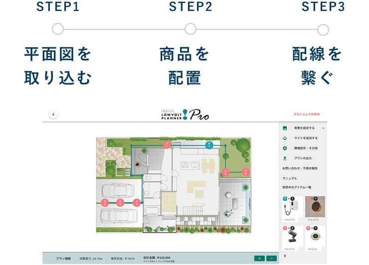 STEP1 平面図を取り込む STEP2 商品を配置 STEP3 配線を繋ぐ