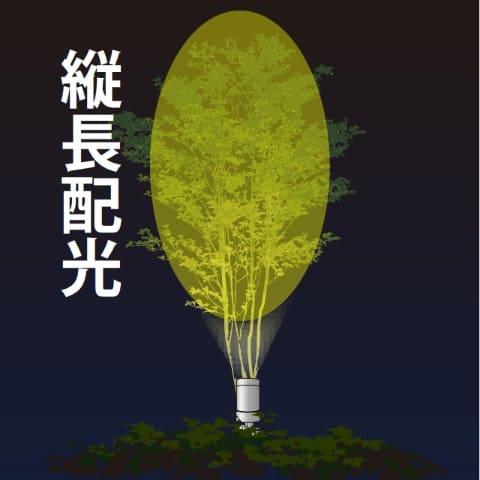 樹形にあわせ縦長・横長配光を