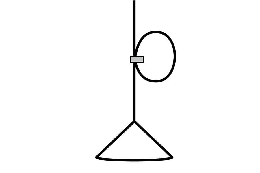 付属のコードクリップで吊り高さを調整