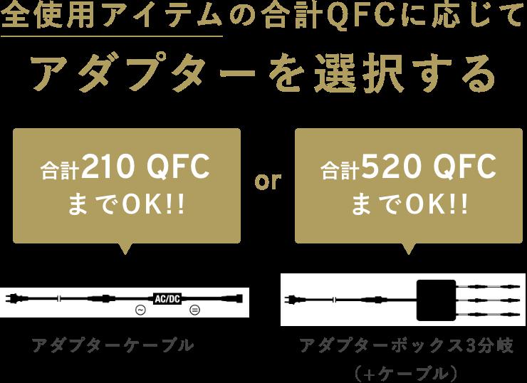 全使用アイテムの合計QFCに応じてアダプターを選択する