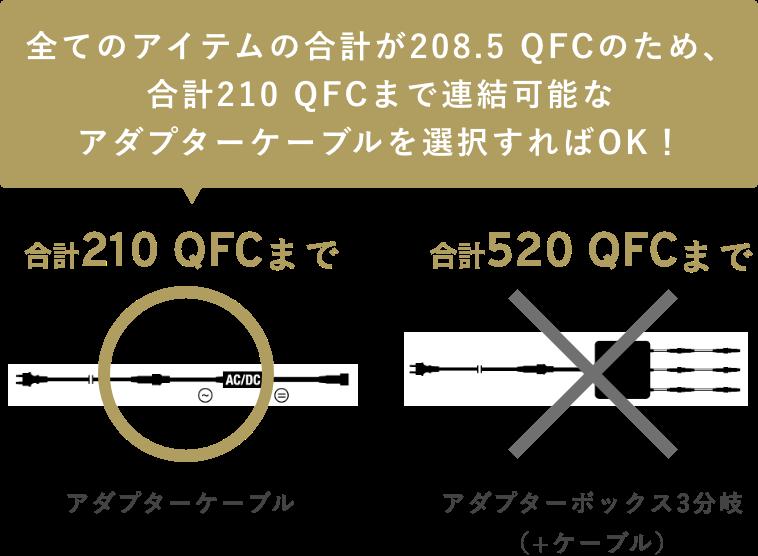 全てのアイテムの合計が208.5QFCのため、合計210QFCまで連結可能なアダプターケーブルを選択すればOK!